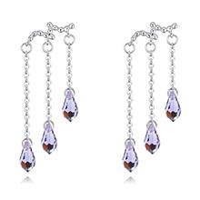 奥地利水晶耳环--滴水柔情(藕荷紫)