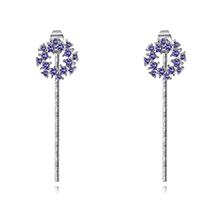 进口水晶耳钉--水晶花环(藕荷紫)