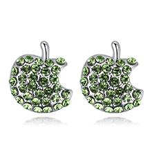 进口水晶耳钉--Apple(橄榄)