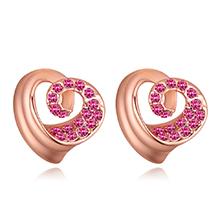 进口水晶耳钉--爱的漩涡(玫瑰金+玫红)