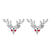 进口水晶耳钉--小麋鹿(白金+浅红)