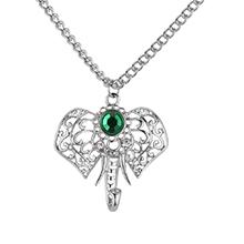 韩版个性精致镂空蝎子吊坠毛衣链(白金+绿色)
