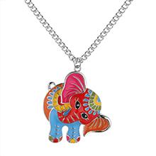 韩版个性创意可爱大象吊坠毛衣链(白金)