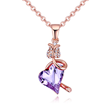 奥地利水晶项链--风恬日暖(玫瑰金+紫罗兰)