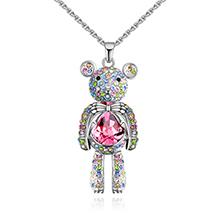 奥地利水晶项链--芭比小熊(彩色+玫红)
