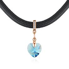 奥地利水晶项链--真爱之心(香槟金+海蓝)