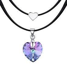 奥地利水晶颈链--蓝心锐月(紫光)