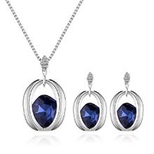 韩版时尚气质镶钻方形项链套装(蓝色)