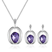 韩版时尚气质镶钻方形项链套装(紫色)