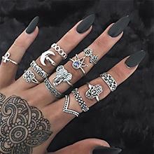 欧美时尚夸张戒指组合套装(古银)