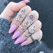欧美时尚夸张戒指套装(古银)