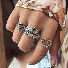 欧美创意爱心花朵戒指组合套装(古银)