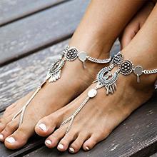 欧美时尚夸张名族风脚链(古银)