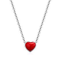 可爱甜美小红心S925银扣项链