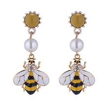 韩版小清新珍珠蜜蜂耳环
