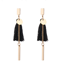 欧美时尚名族风流苏耳环(黑色)