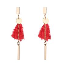欧美时尚名族风流苏耳环(玫红)