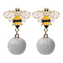 韩版小清新蜜蜂毛球(白色)