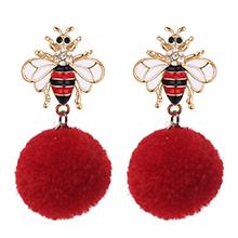 韩版时尚创意毛球蜜蜂耳环(红色)