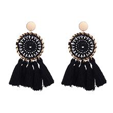 韩版民族风针织圆盘流苏耳环(黑色)