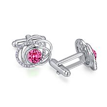 奥地利水晶袖扣--蔓舞(玫红)