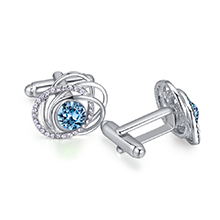 奥地利水晶袖扣--蔓舞(海蓝)