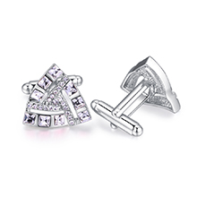 奥地利水晶袖扣--唯爱三角(白色)