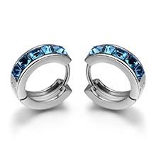 奥地利水晶耳环--爱的幸运轮(白金+海蓝)