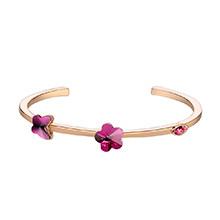 奥地利水晶手镯--绽放花朵(香槟金+紫红)