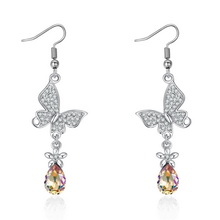 奥地利水晶耳环--花上蝶(夜光绿)