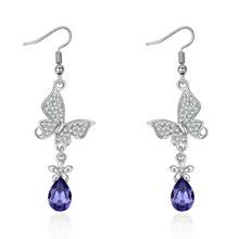 奥地利水晶耳环--花上蝶(藕荷紫)