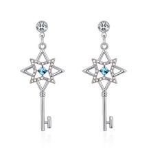 奥地利水晶耳环--花之匙(海蓝)