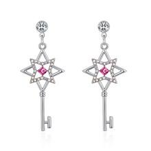 奥地利水晶耳环--花之匙(玫红)