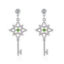奥地利水晶耳环--花之匙(橄榄)