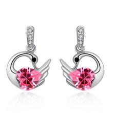 奥地利水晶耳环--圣洁天鹅(玫红)