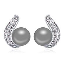 奥地利珍珠耳环--倾心之珠(深灰)