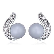 奥地利珍珠耳环--倾心之珠(粉彩蓝)