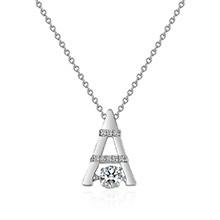 AAA锆石灵动吊坠巴黎铁塔项链(白金)