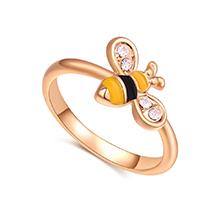 进口水晶戒指--精灵小蜜蜂(香槟金+白色)