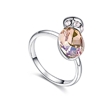 奥地利水晶戒指--浪漫之壶(夜光绿))