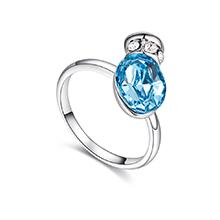 奥地利水晶戒指--浪漫之壶(海蓝)