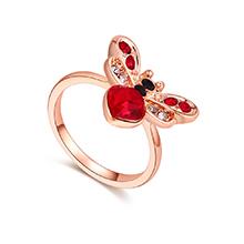 奥地利水晶戒指--爱心蜜蜂(浅红+玫瑰金)