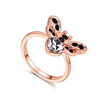 奥地利水晶戒指--爱心蜜蜂(白色+玫瑰金)