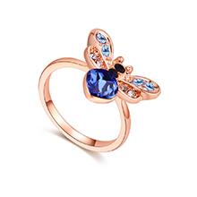 奥地利水晶戒指--爱心蜜蜂(蓝色+玫瑰金)