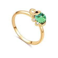 奥地利水晶戒指--清新小象(香槟金+橄榄)