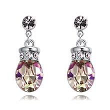 奥地利水晶耳环--浪漫之壶(夜光绿))