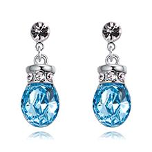 奥地利水晶耳环--浪漫之壶(海蓝)