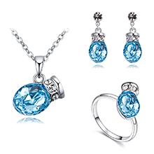 奥地利水晶项链--浪漫之壶(海蓝)