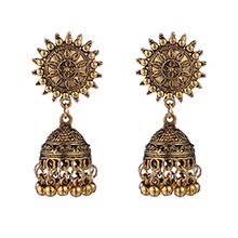 印度异域风情创意太阳耳环(古金)