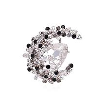 奥地利水晶胸针--花缀月亮(白金+白色)